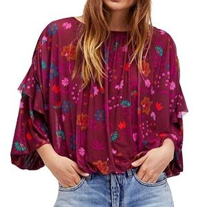 Free people floral print boHo chic mesh blouse